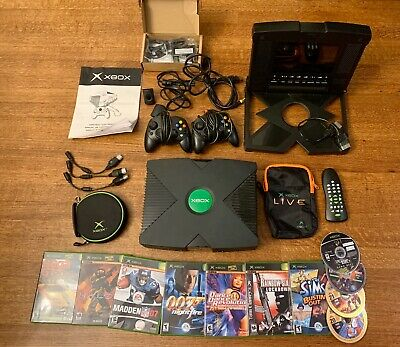 Working Xbox Original Console, 2 Controllers, Intec Portable Player, 7 Games