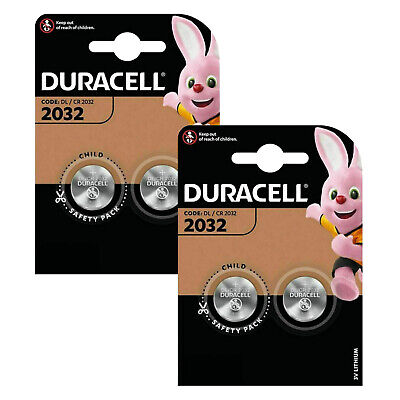 4 x Duracell CR2032 Batteries Lithium Battery 3V Button/Coin Cell CR 2032 DL2032
