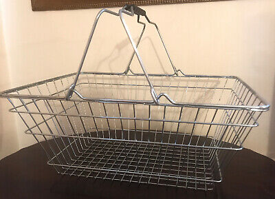 2 Handle Black Wire Shopping Basket Retail Supermarket Use Hand Carry Mesh