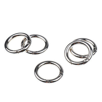 5 Pack Round Key Rings Premium Split Ring Plated Open Hook Spring Ring 25mm