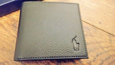 Mens Brand New Black POLO Ralph Lauren Bifold Leather Coin Wallet FREE UK P&P!