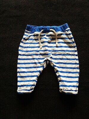 Next Boys Blue & White Stripey Joggers Trousers Age 0-3 Months
