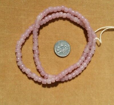 Greasy Opal Pink Rose Strand African Trade Beads Murano Venetian Vintage Glass