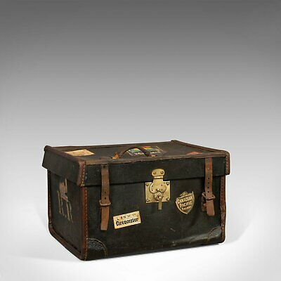 Antique Travel Trunk, English, Personal Carriage Chest, Hatbox, Circa 1910