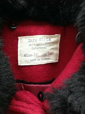ZARA girls gorgeous red coat. Removable fur hood. Size 10 years