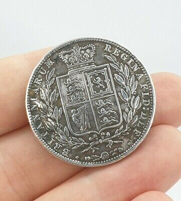 Antique Victorian 1882 Half Crown Coin Brooch Solid Silver Large Round Jewellery