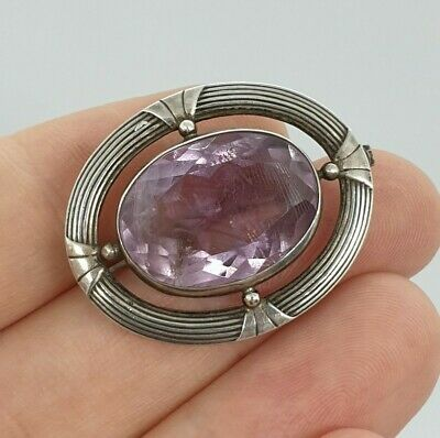 Antique Victorian Solid Silver & Large Natural Amethyst Brooch Pin Scottish
