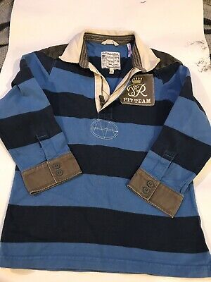 Joules Boys Blue Stripe Rugby Top Jersey - Sz 6 Yrs