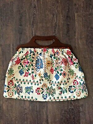 Vintage Retro Style Knitting / Craft Bag With Plastic Handles