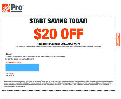One 1x Home Depot Coupon $20 OFF $200 In-Store-Only EXPIRE: 3/1/2020