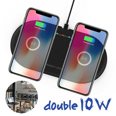UK Qi Dual Wireless Charger Charging Mat For i Phone 11 Pro Max Samsung Note 10+