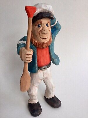 Hand Carved Wooden Sailor Figure Canadian Award Winning carver Captain Nautical