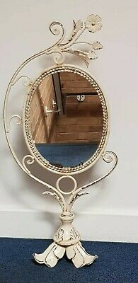 Vintage French Shabby Chic Metal Frame Oval Freestanding Dressing Table Mirror