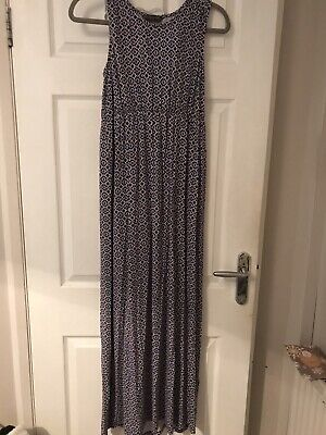 Size 12 Patterned Maxi Dress Blue White Brown Summer Evening Holiday Cruise