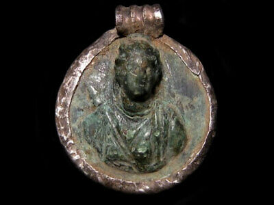 Extremely Rare ROMAN SILVER & BRONZE MEDALLION AMULET, ARTEMIS(DIANA) BUST+++