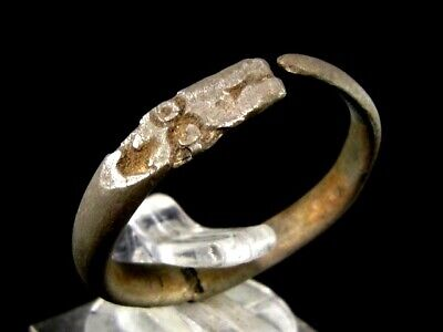 EXTREMELY RARE ROMAN SILVER SNAKE RING, TOP as FOUND CONDITION+++