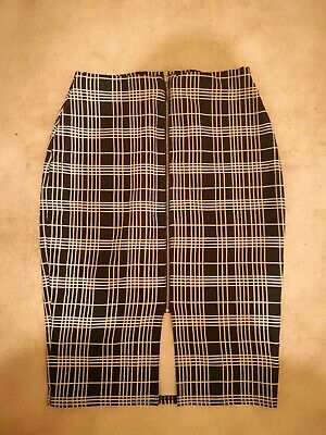 Primark Black and White Patterned Pencil Skirt Zip Up sz8