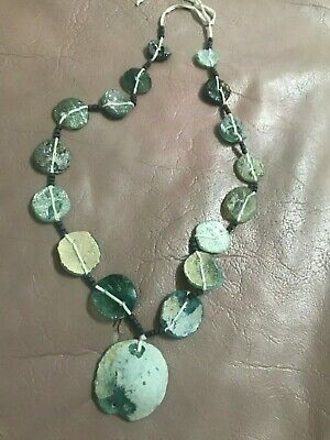 Lovely Sumerian Abnormal Ancient Antique Roman Green Glass Strand Bead Necklace