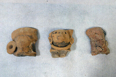 Pre Columbian Figural Human Head Tlatilco Mayan Pottery Fragment Shard LOT of 3