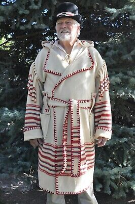 Wool Blanket Capote - Coat, 2XL Ivory w/ Red & Blue Stripes Muzzleloaders