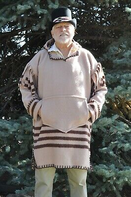 Wool Blanket Capote Style Shirt w/ Hood, Tan with Brown Stripes