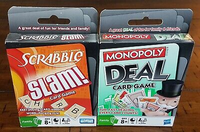 Scrabble Slam! & Monopoly Deal Hasbro Card Games ~ New & Sealed