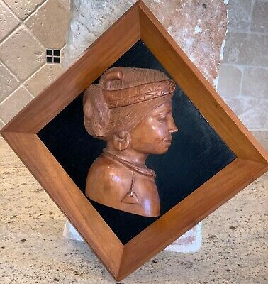Vintage Wall Plaque African Indian Wood 3D Carved Beads Woman Portrait Lot