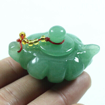 Certified Grade Natural Green Hand-carved Dongling Jade Statue Hip flask z413
