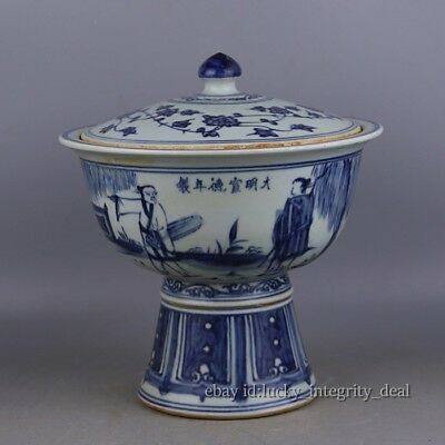 Huge Chinese Ming Blue and White Porcelain High-Foot Cover Bowl.Character Story