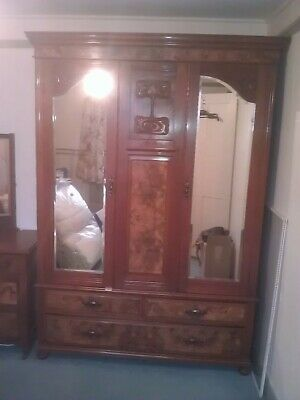 Stunning Antique Art Nouveau Mahogany and walnut wardrobe. Part of set.
