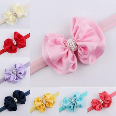 Baby Girl Adjustable Rhinestone Pearl Hair Band Bow Knot Headband Turban