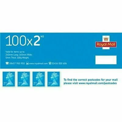 Royal Mail Second Class Stamps Pack 100 63835X Blue