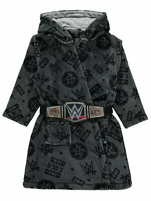 WWE Wrestling Dressing Gown Robe Grey Title Belt Hooded Soft  - Age 4-14 Yrs