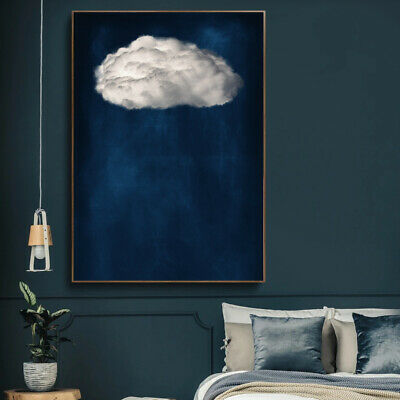 Blue Sky & Cloud Wall Art Abstract Watercolour Blue Art Painting Print Poster