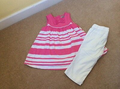 Next girls summer bundle Tunic And White Cropped Trousers size 2-3 years VGC!