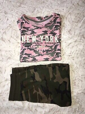 Girls Camo Outfit Age 12-13 Years Camo Joggers & Long Sleeved Top WORN ONCE