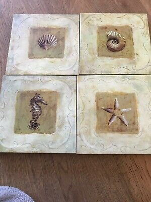 4 Matching Pictures Of Sea Items Size 8x8 Inches