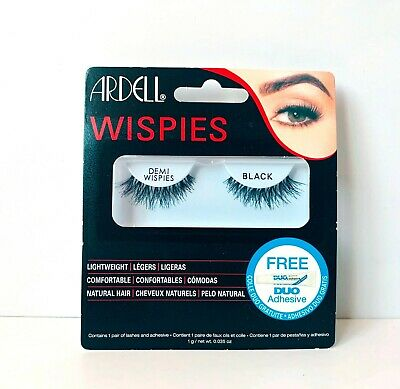 BN Ardell Demi Wispies Black False Lashes +Duo Adhesive Lightweight Natural Hair