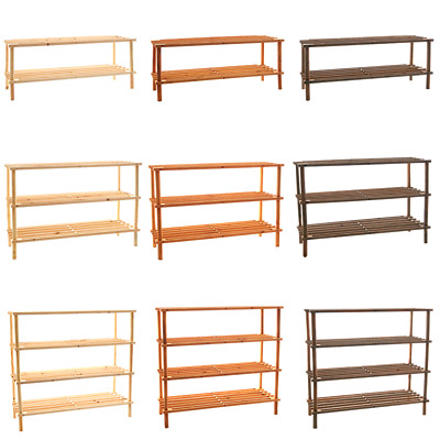 2 3 4 Tier Shoe Rack Slated Dark Oak Natural Walnut Wood Footwear Storage Unit