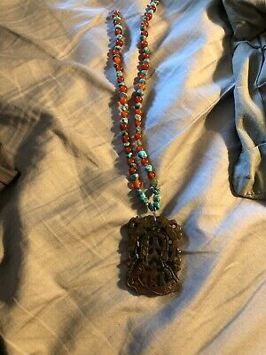 Chinese Hand Carved brown  hard stone pendant necklace with turquoise and amber