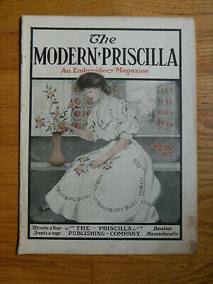 May 1907 The Modern Priscilla Magazine-Early Kellogg's Cornflakes Ad-Embroidery