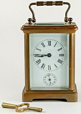 ANTIQUE FRENCH BRASS CARRIAGE CLOCK w ALARM 4 REPAIR
