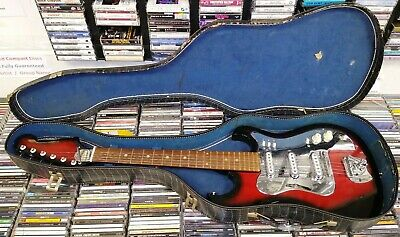 Teisco (?) Made In Japan Vintage Electric Guitar ~ Retro 60s 70s w/ case