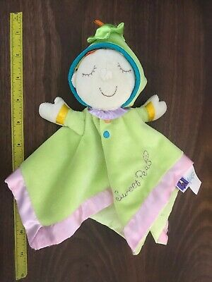 """Lovey Security Blanket Sweet Pea Manhattan Toy 11"""" Square Green Pink Plush Y11"""