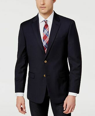 $410 Tommy Hilfiger 40S Mens Blue Modern Fit Wool Blazer Sport Coat Solid Jacket