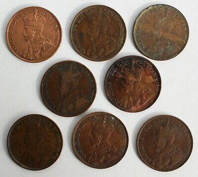 8 Coin Lot 1911-1918 Canada Large Cent Coins 1c Canadian Sequential Dates YG