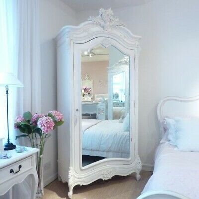 French Armoire with Mirror, Antique, Carved, Wardrobe Coach house