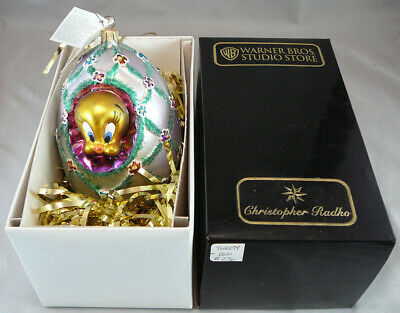 Vtg Christopher Radko Christmas Ornament Faberge Egg Tweety Bird Warner Bros.Box