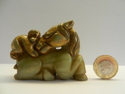 Chinese Gilt Hetian Celadon Pale Jade Statue - Horse and Monkey. Early 20th C.