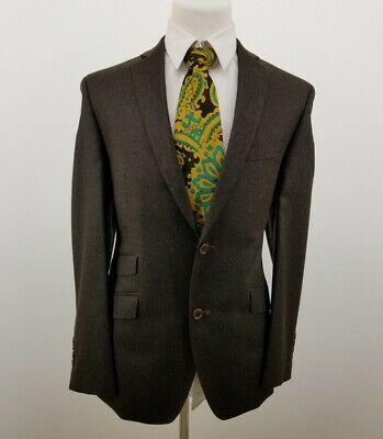 TALLIA Mens Blazer Sport Coat Jacket 95% Wool 5% Cashmere Brown Sz 40R